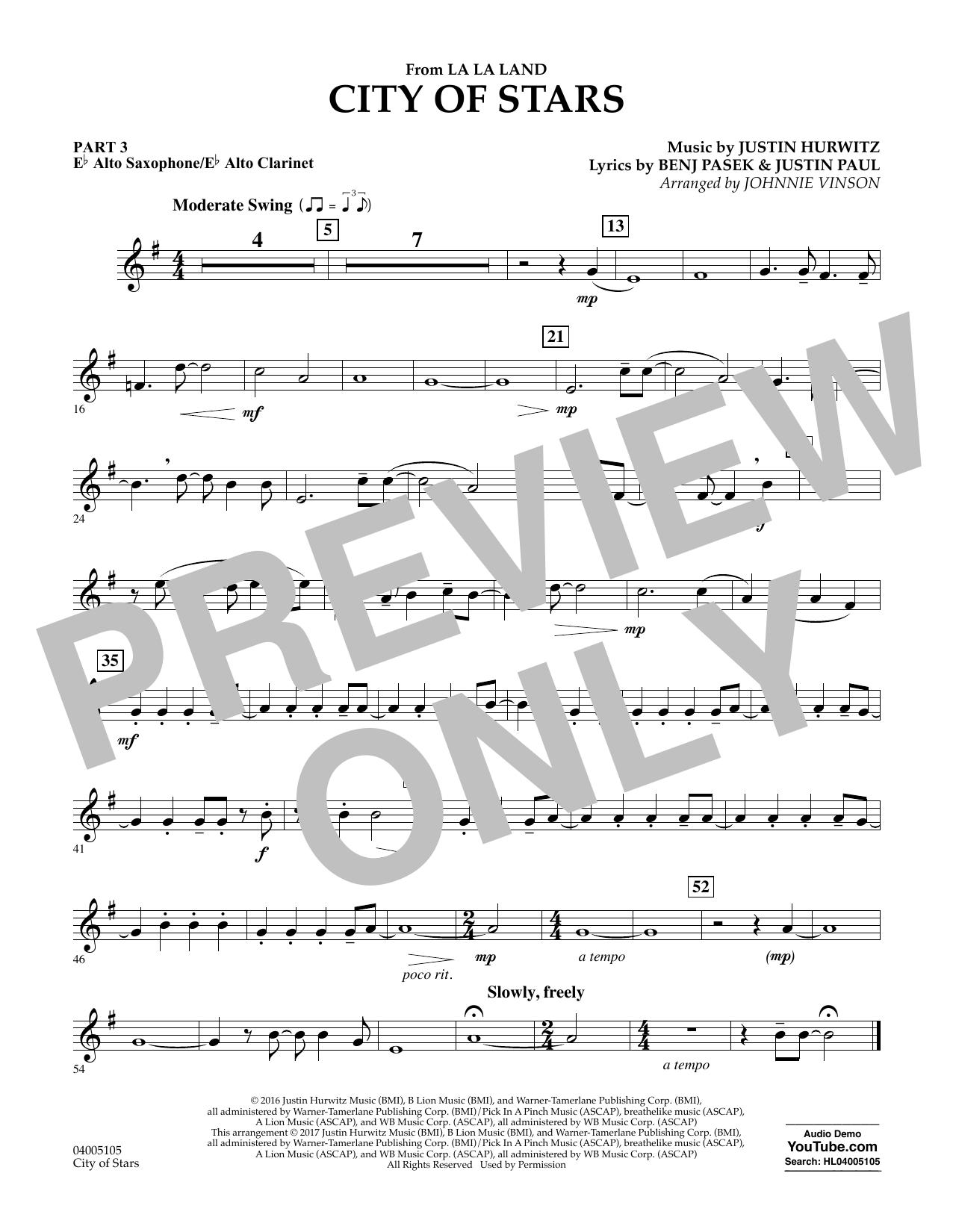 City of Stars (from La La Land) - Pt.3 - Eb Alto Sax/Alto Clar. Sheet Music