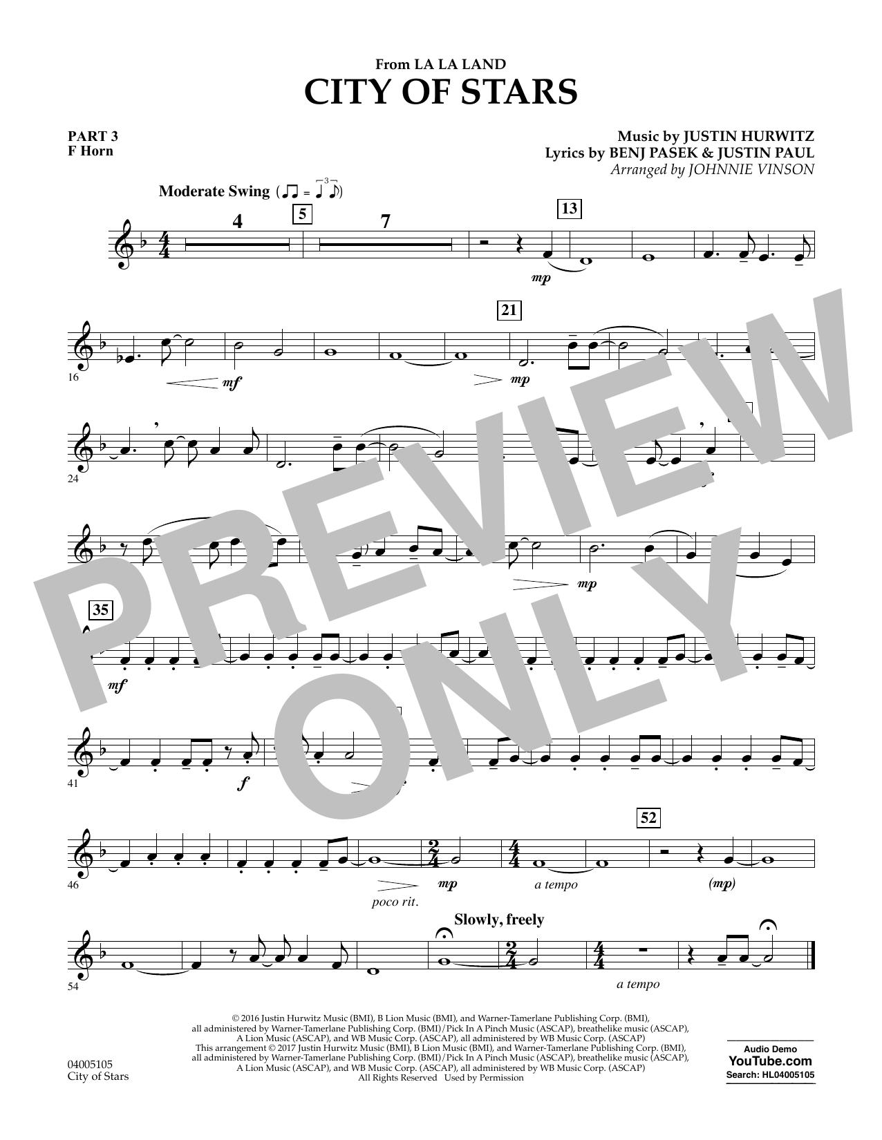 City of Stars (from La La Land) - Pt.3 - F Horn Sheet Music