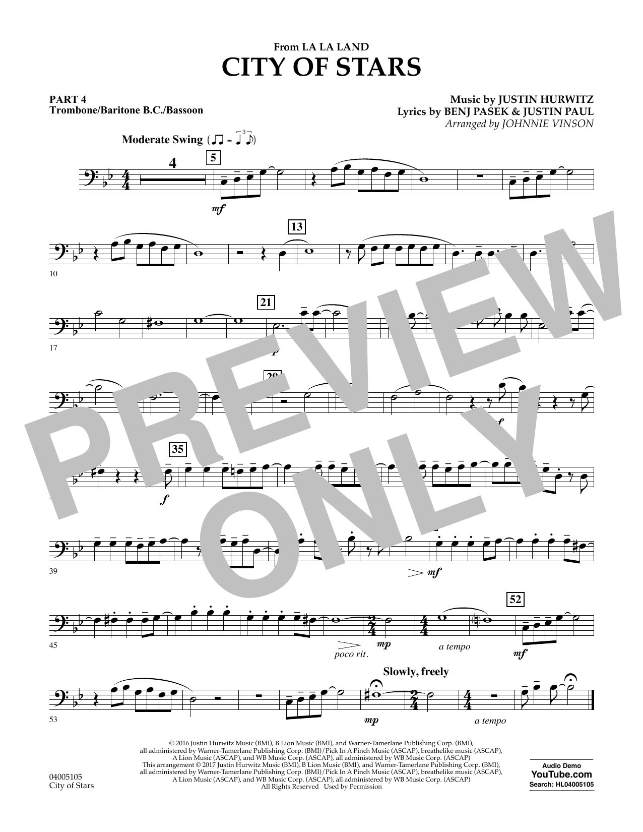City of Stars (from La La Land) - Pt.4 - Trombone/Bar. B.C./Bsn. (Concert Band: Flex-Band)