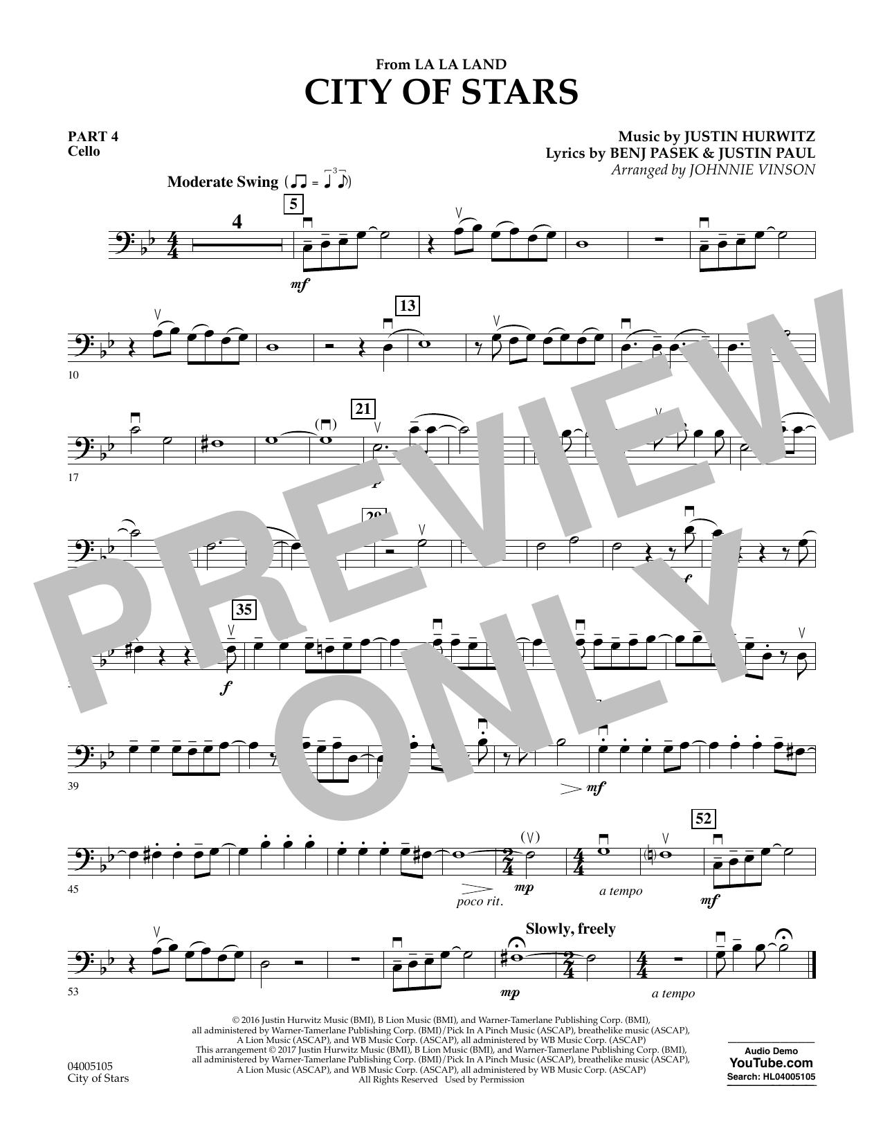 City of Stars (from La La Land) - Pt.4 - Cello Sheet Music