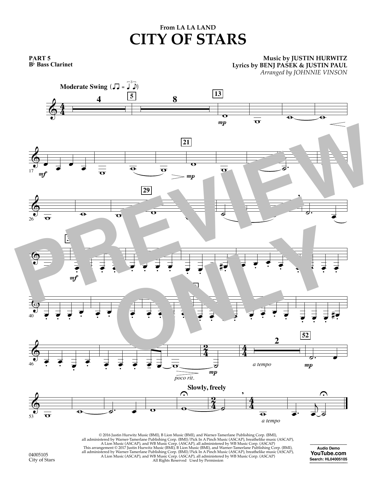 City of Stars (from La La Land) - Pt.5 - Bb Bass Clarinet Sheet Music