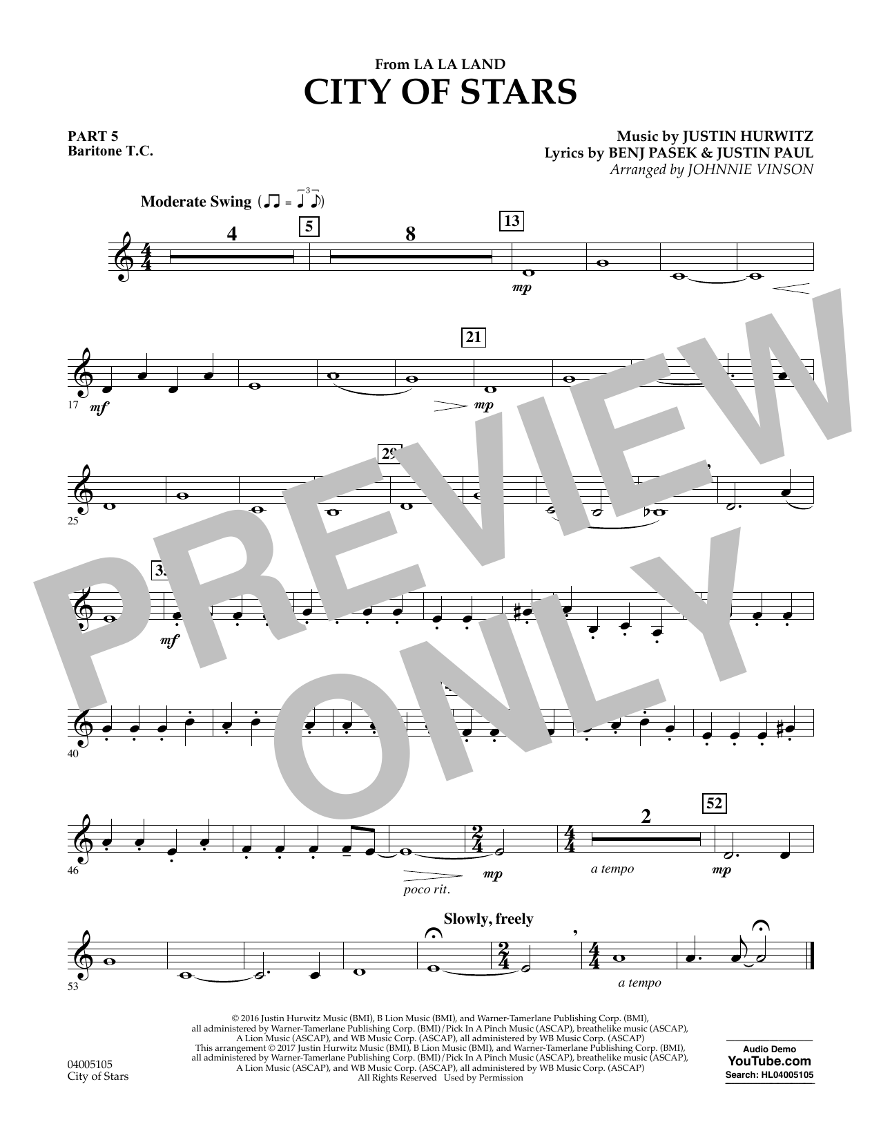 City of Stars (from La La Land) - Pt.5 - Baritone T.C. Sheet Music