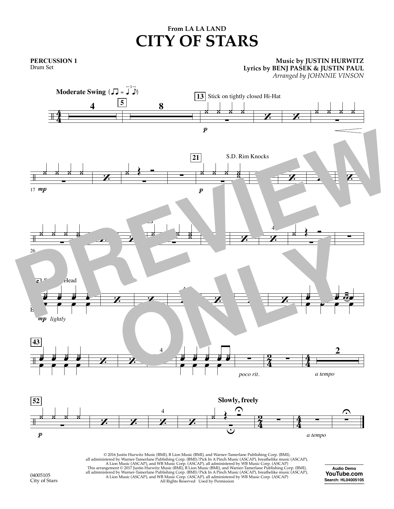 City of Stars (from La La Land) - Percussion 1 Sheet Music