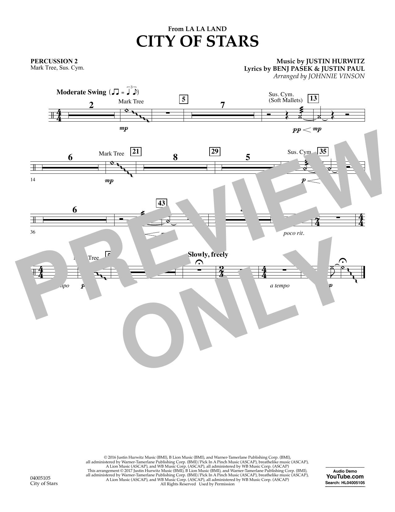 City of Stars (from La La Land) - Percussion 2 Sheet Music