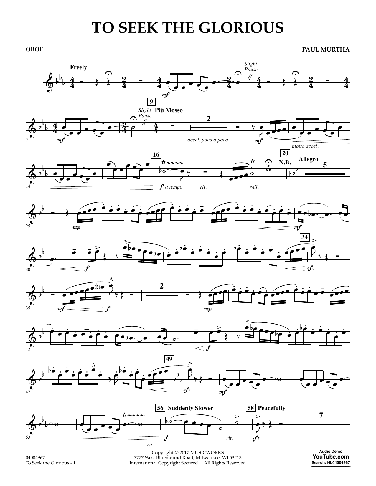 To Seek the Glorious - Oboe Sheet Music