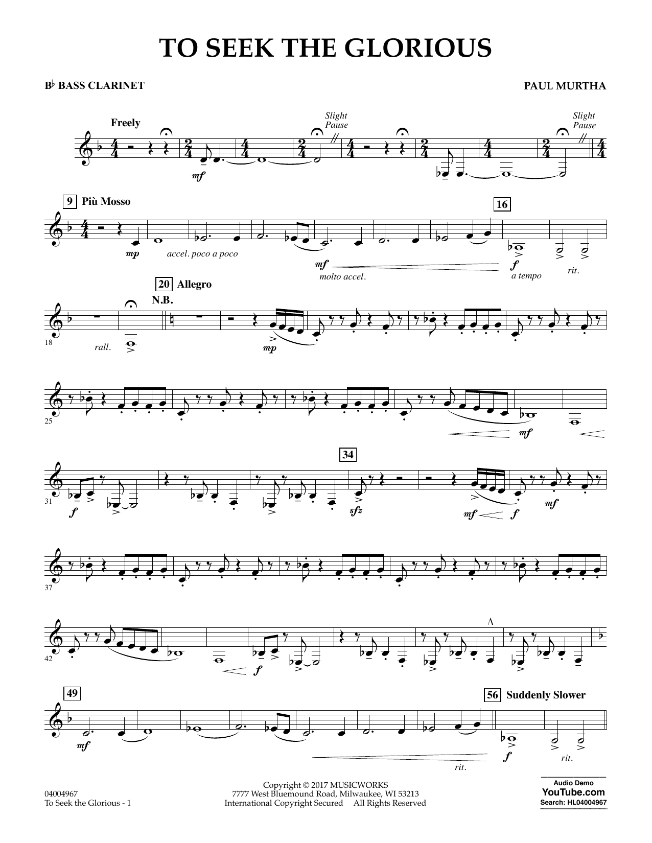 To Seek the Glorious - Bb Bass Clarinet Sheet Music