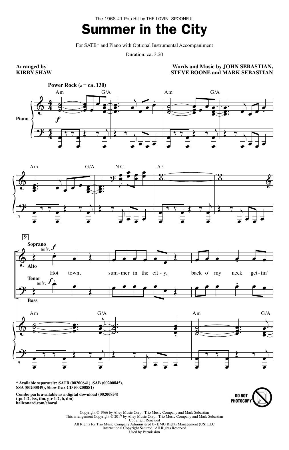 Summer In The City (SATB Choir)