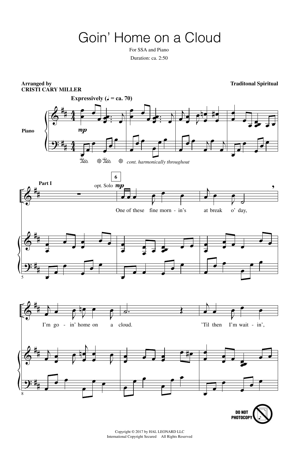 Goin' Home On A Cloud Sheet Music