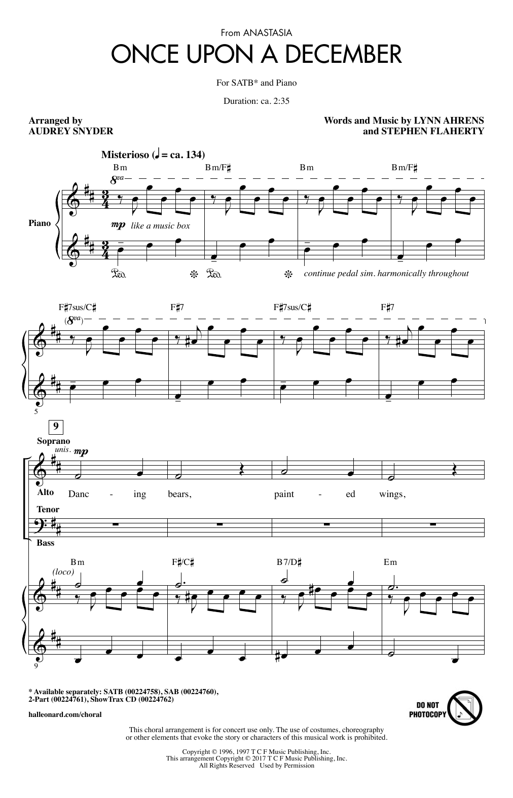 Once Upon A December (from Anastasia) (arr. Audrey Snyder) (SATB Choir)