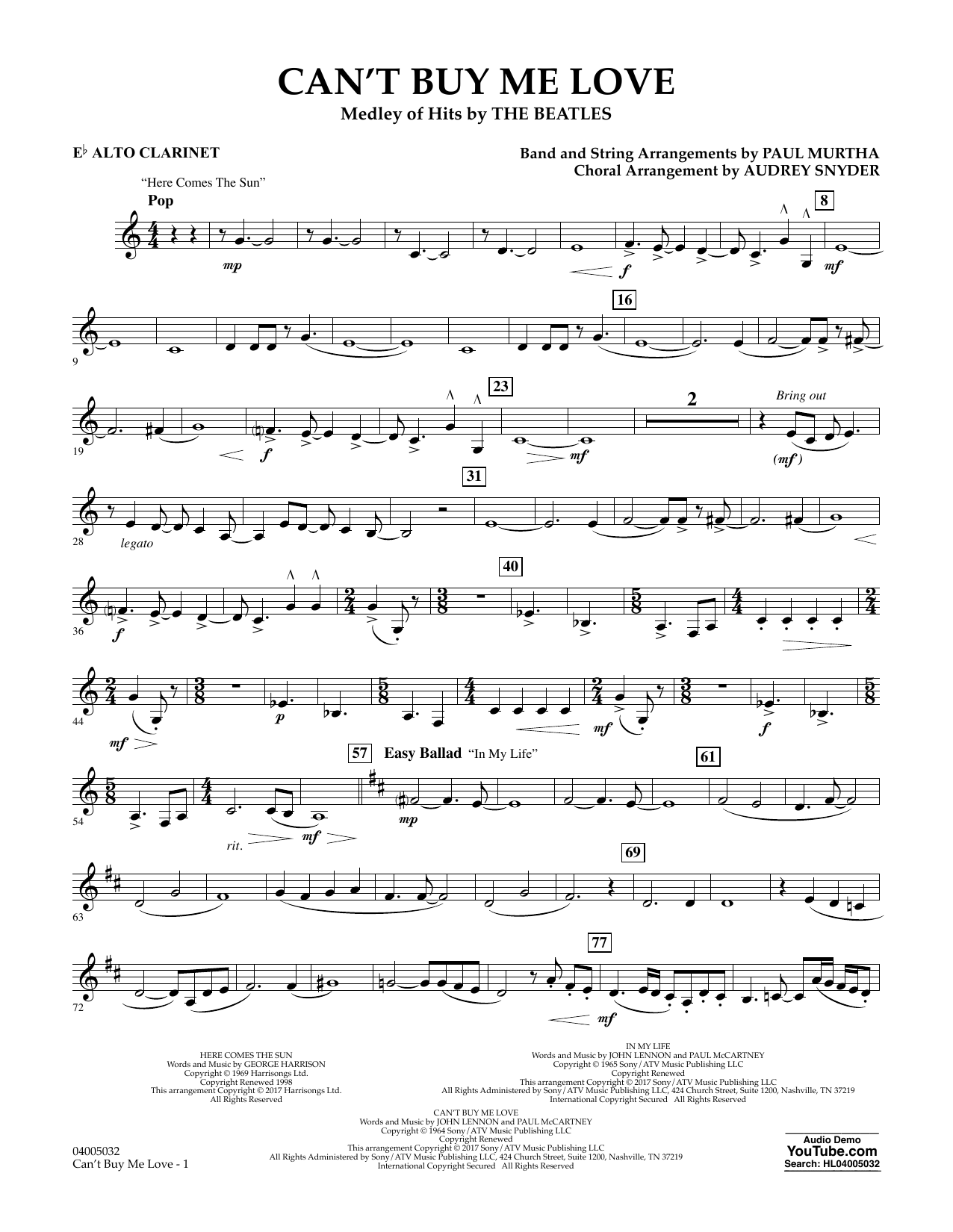 Can't Buy Me Love - Eb Alto Clarinet Sheet Music
