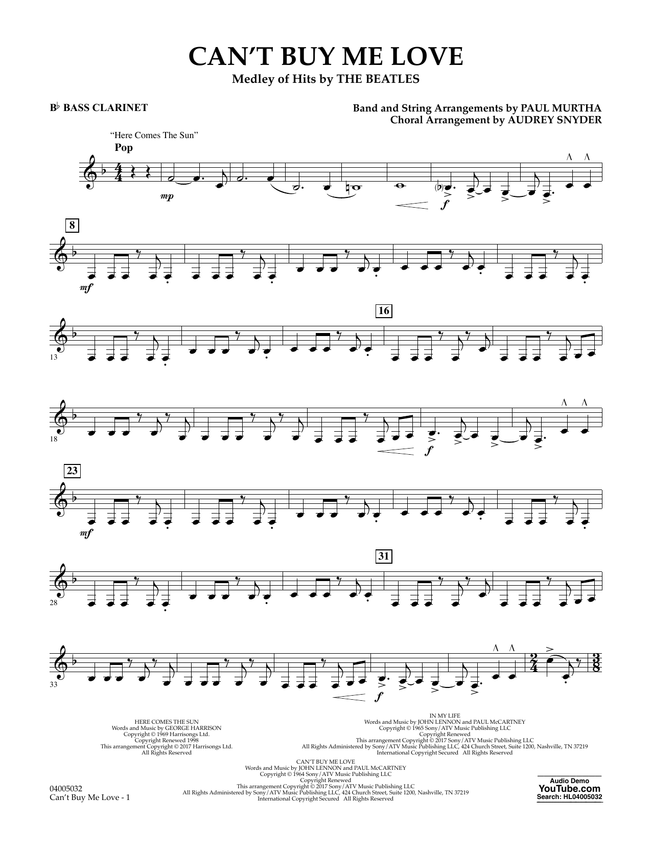 Can't Buy Me Love - Bb Bass Clarinet Sheet Music