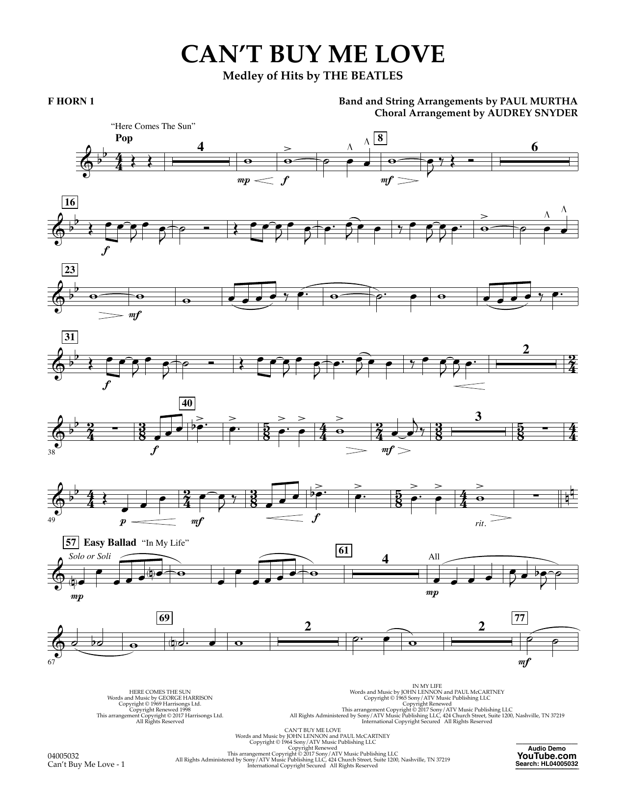 Can't Buy Me Love - F Horn 1 Sheet Music