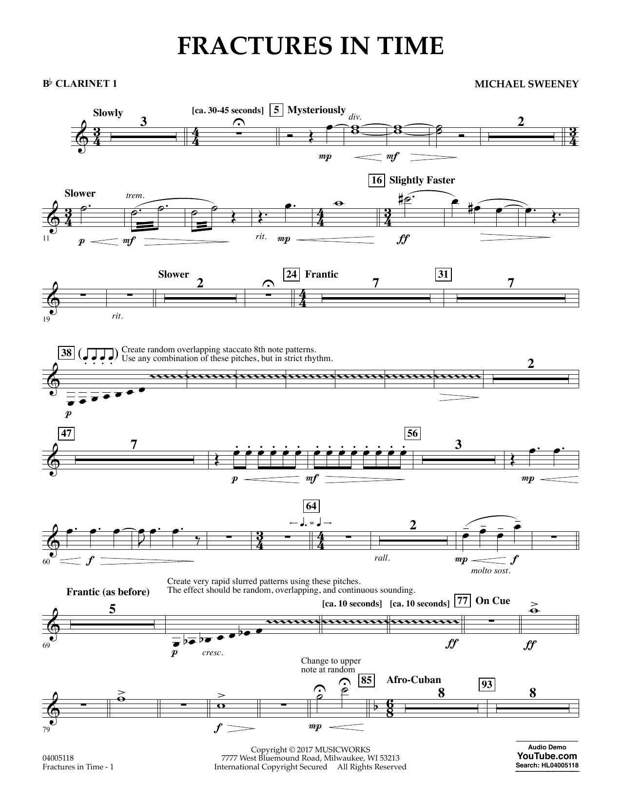 Fractures in Time - Bb Clarinet 1 Sheet Music