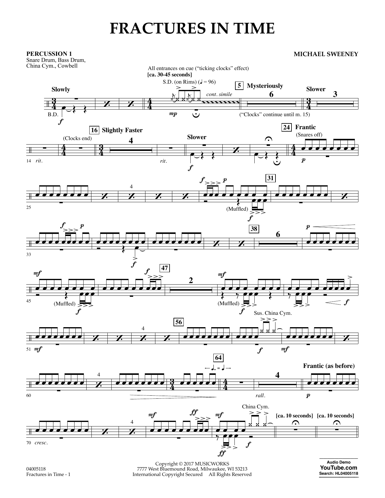 Fractures in Time - Percussion 1 Sheet Music
