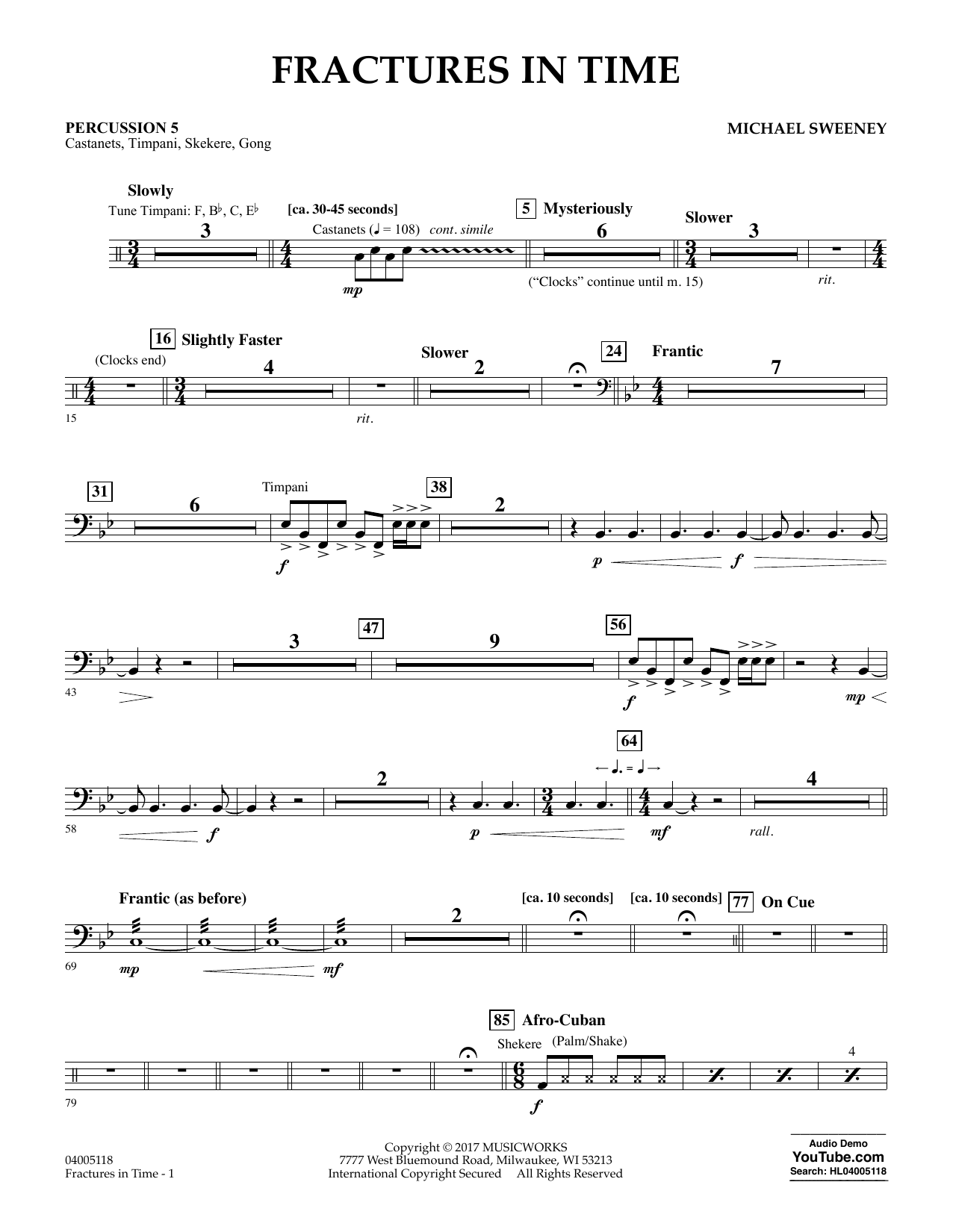 Fractures in Time - Percussion 5 Sheet Music