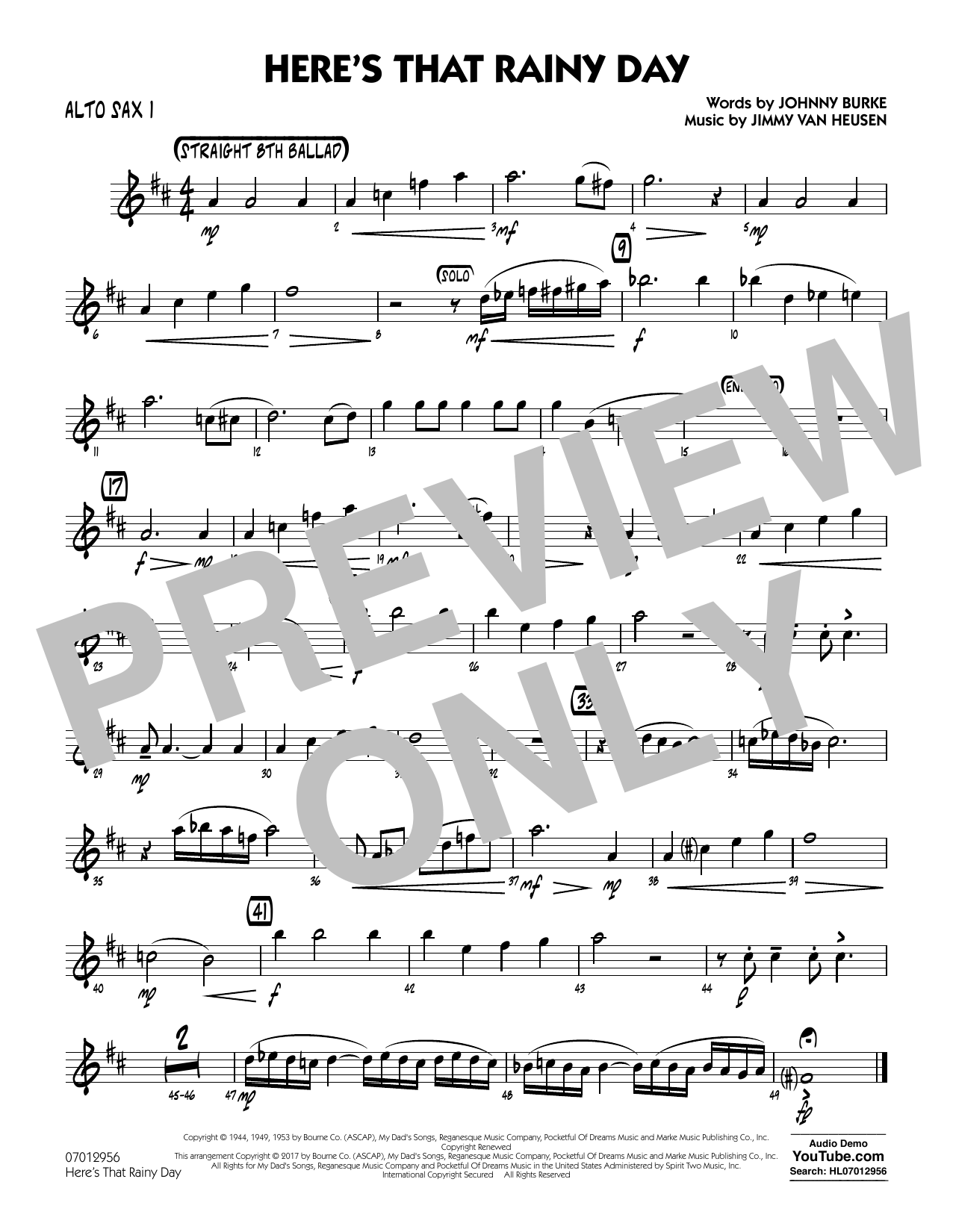 Here's That Rainy Day - Alto Sax 1 Sheet Music