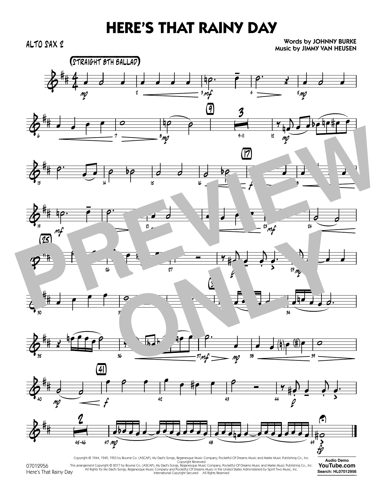 Here's That Rainy Day - Alto Sax 2 Partition Digitale