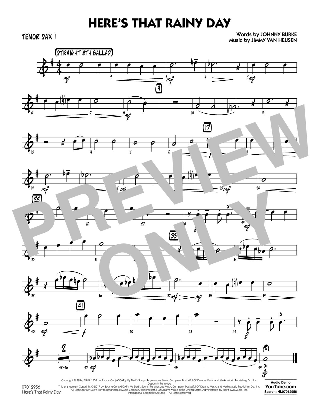 Here's That Rainy Day - Tenor Sax 1 Sheet Music