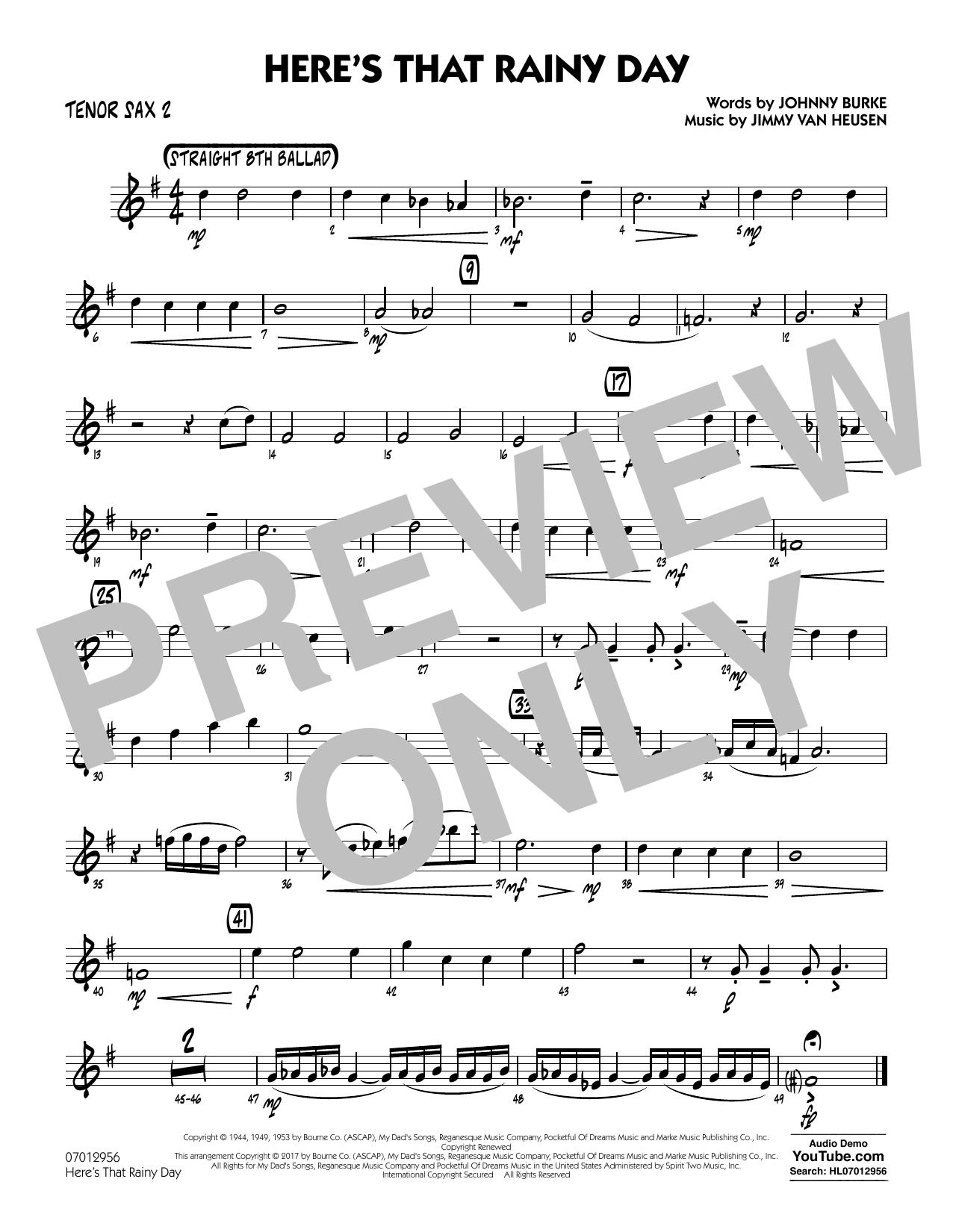 Here's That Rainy Day - Tenor Sax 2 Sheet Music