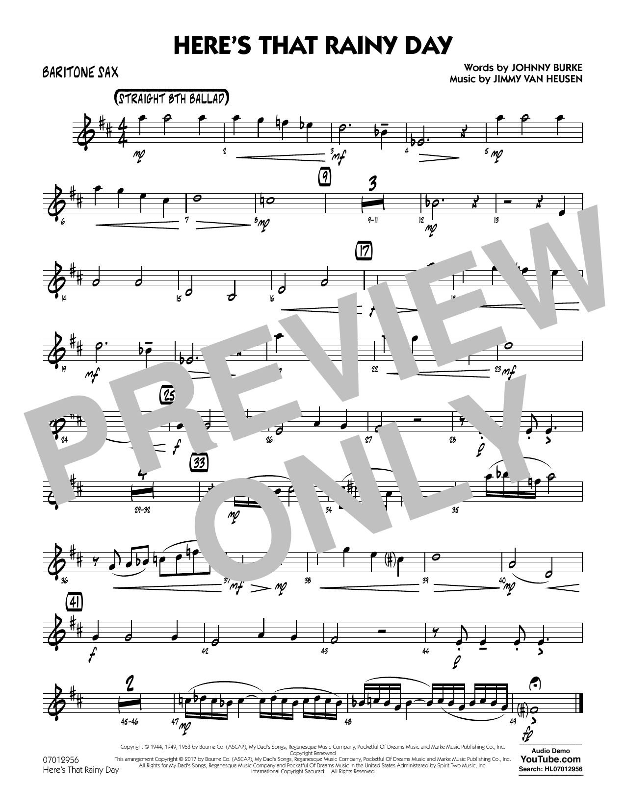 Here's That Rainy Day - Baritone Sax Sheet Music