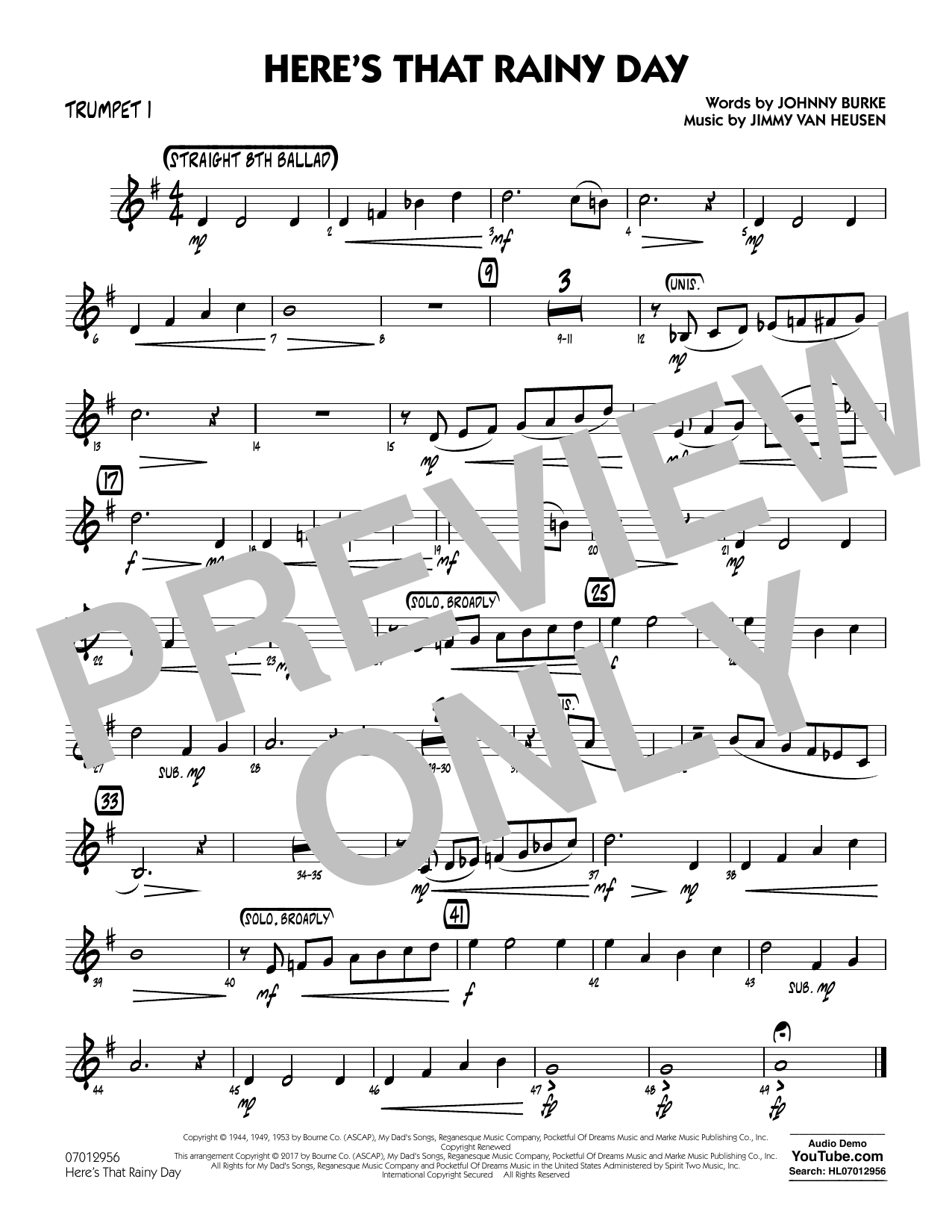 Here's That Rainy Day - Trumpet 1 Sheet Music