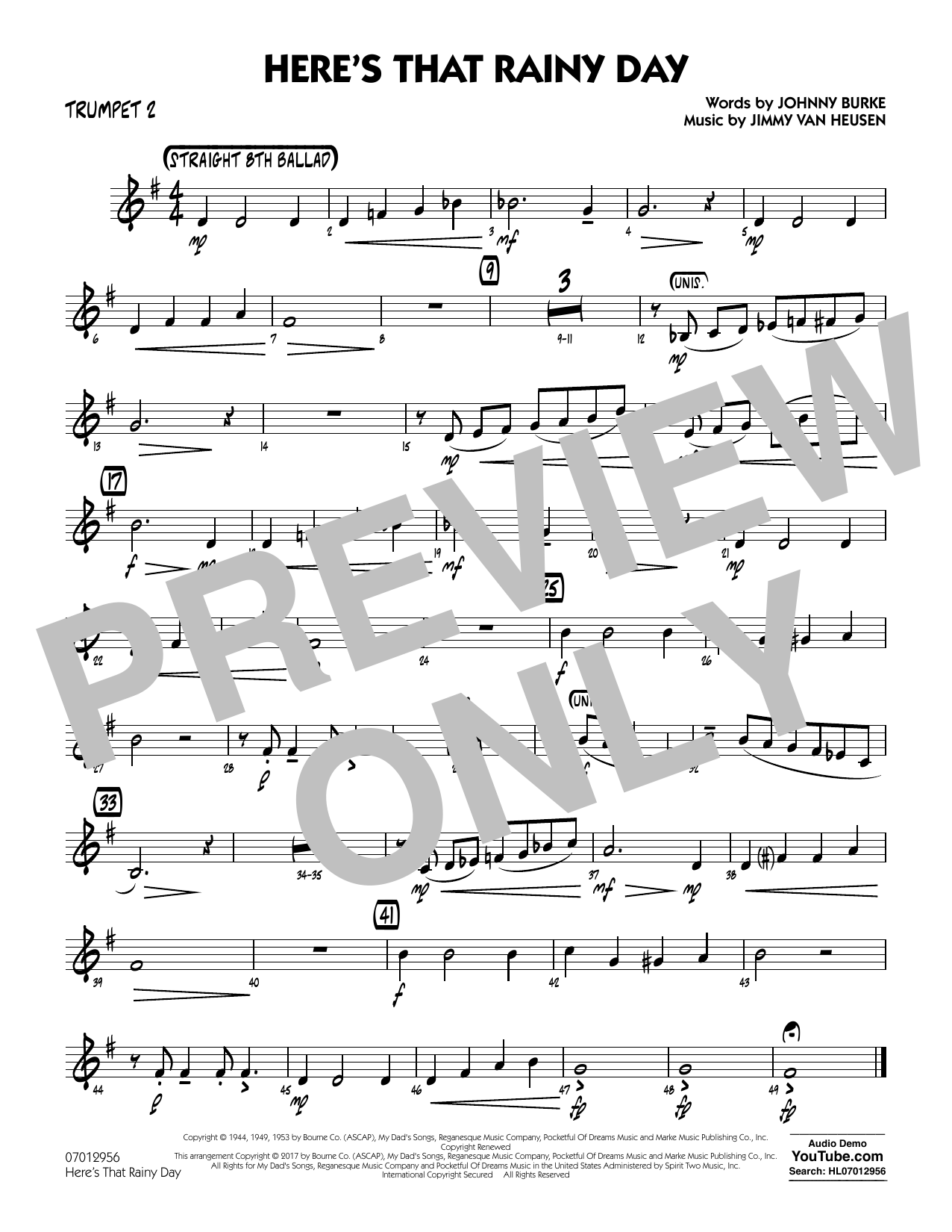 Here's That Rainy Day - Trumpet 2 Sheet Music