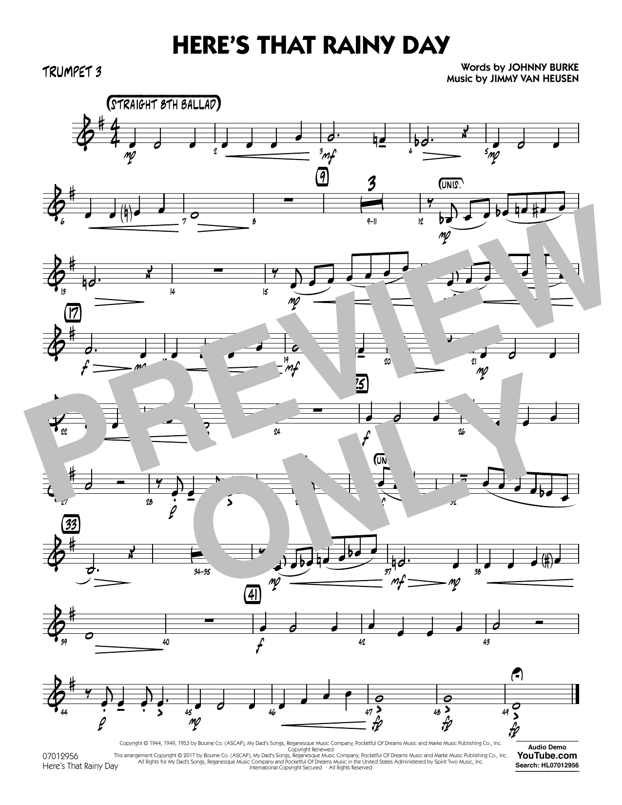 Here's That Rainy Day - Trumpet 3 Sheet Music