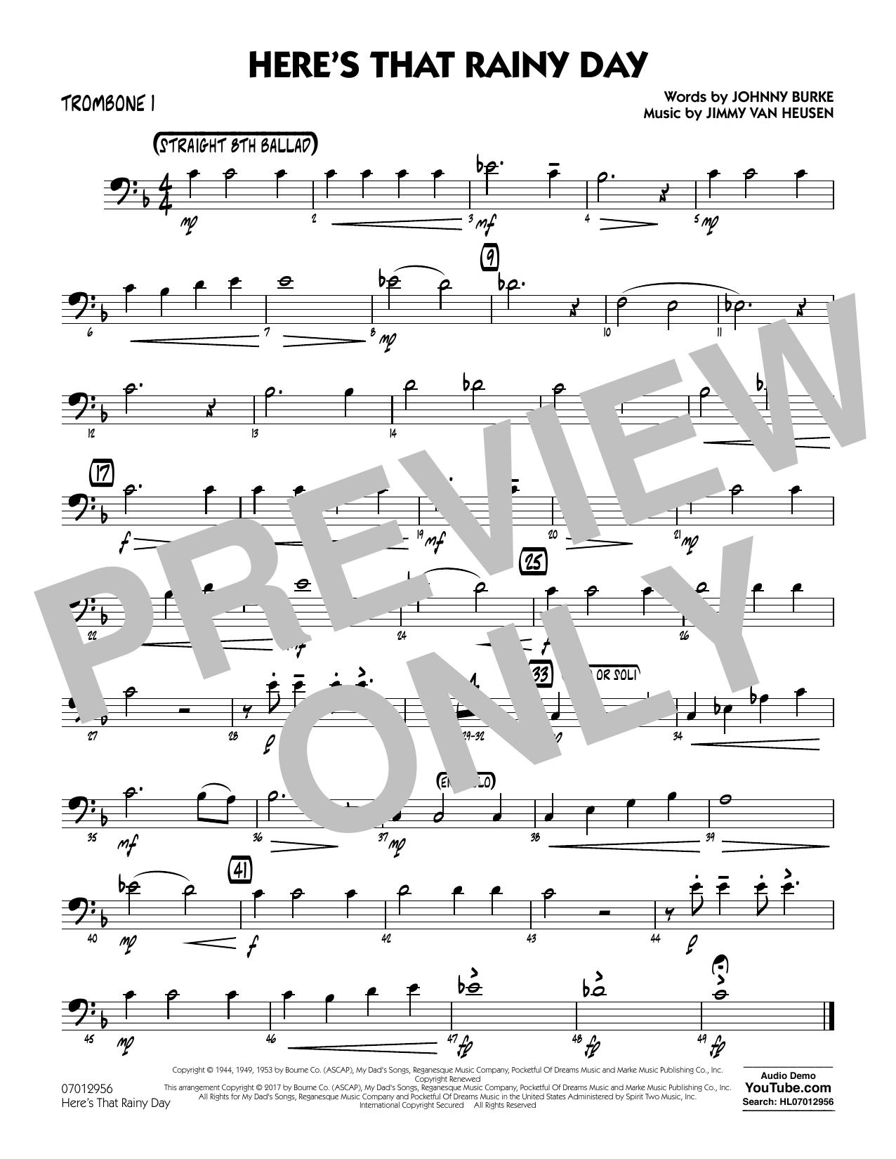 Here's That Rainy Day - Trombone 1 Sheet Music