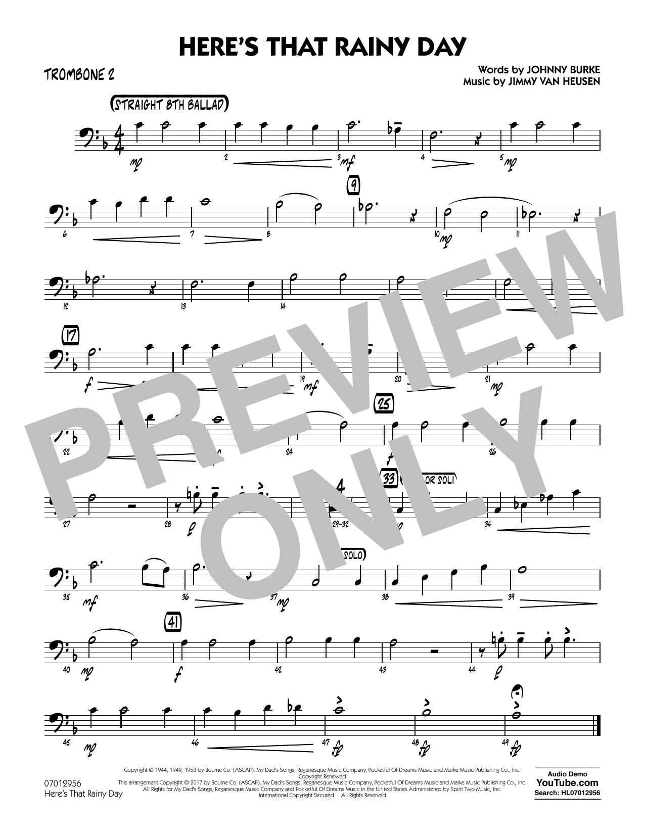 Here's That Rainy Day - Trombone 2 Sheet Music