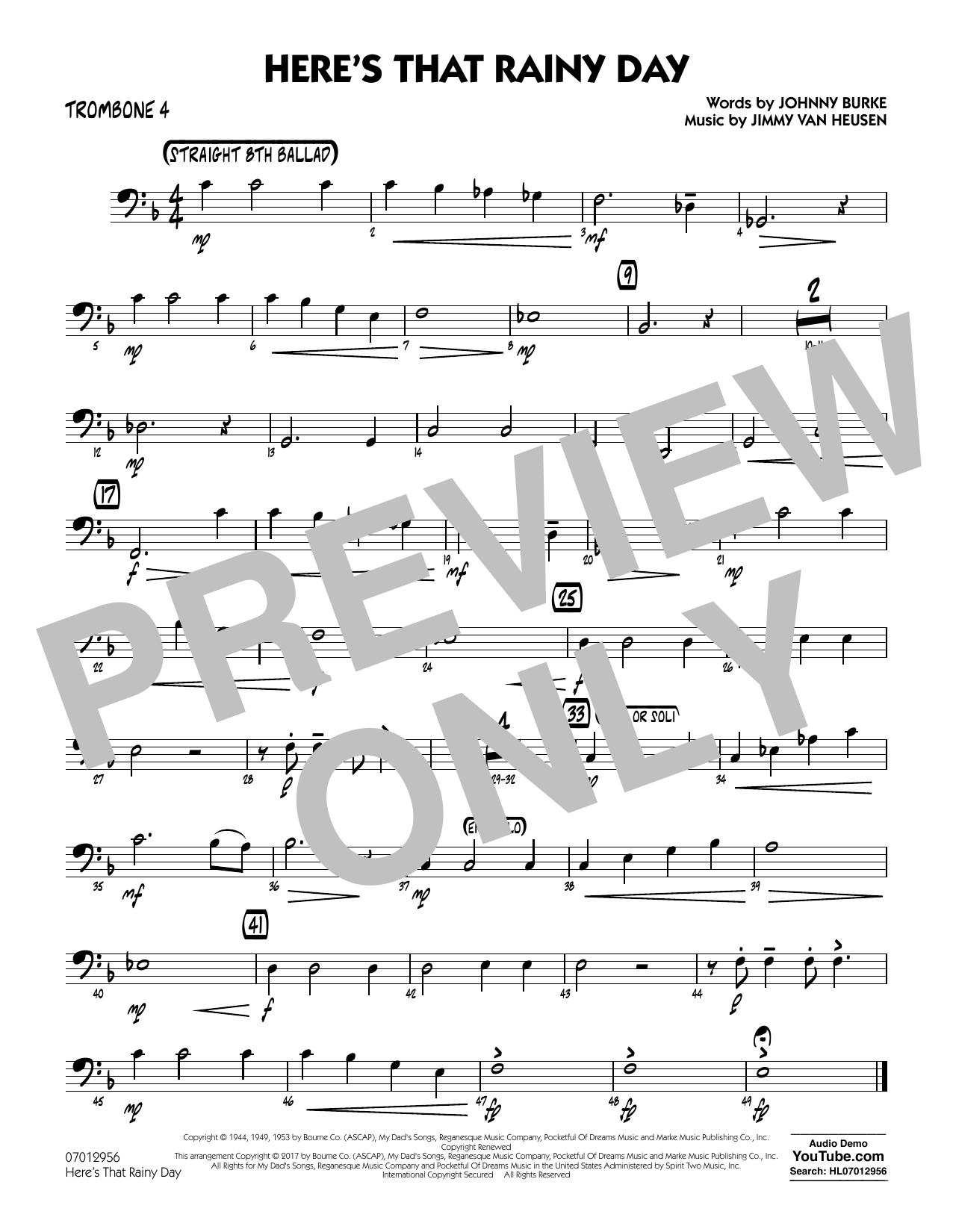 Here's That Rainy Day - Trombone 4 Sheet Music