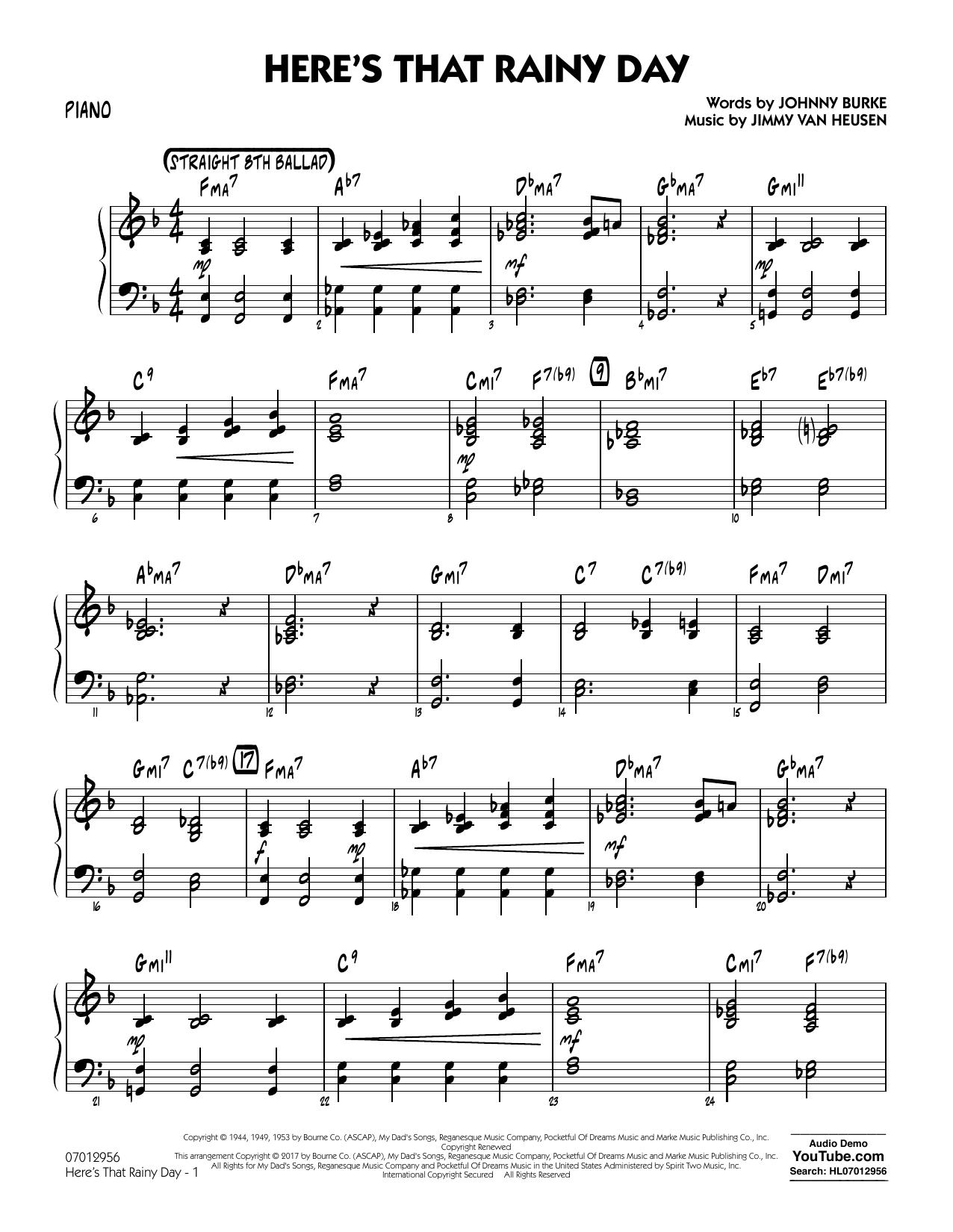 Here's That Rainy Day - Piano Sheet Music