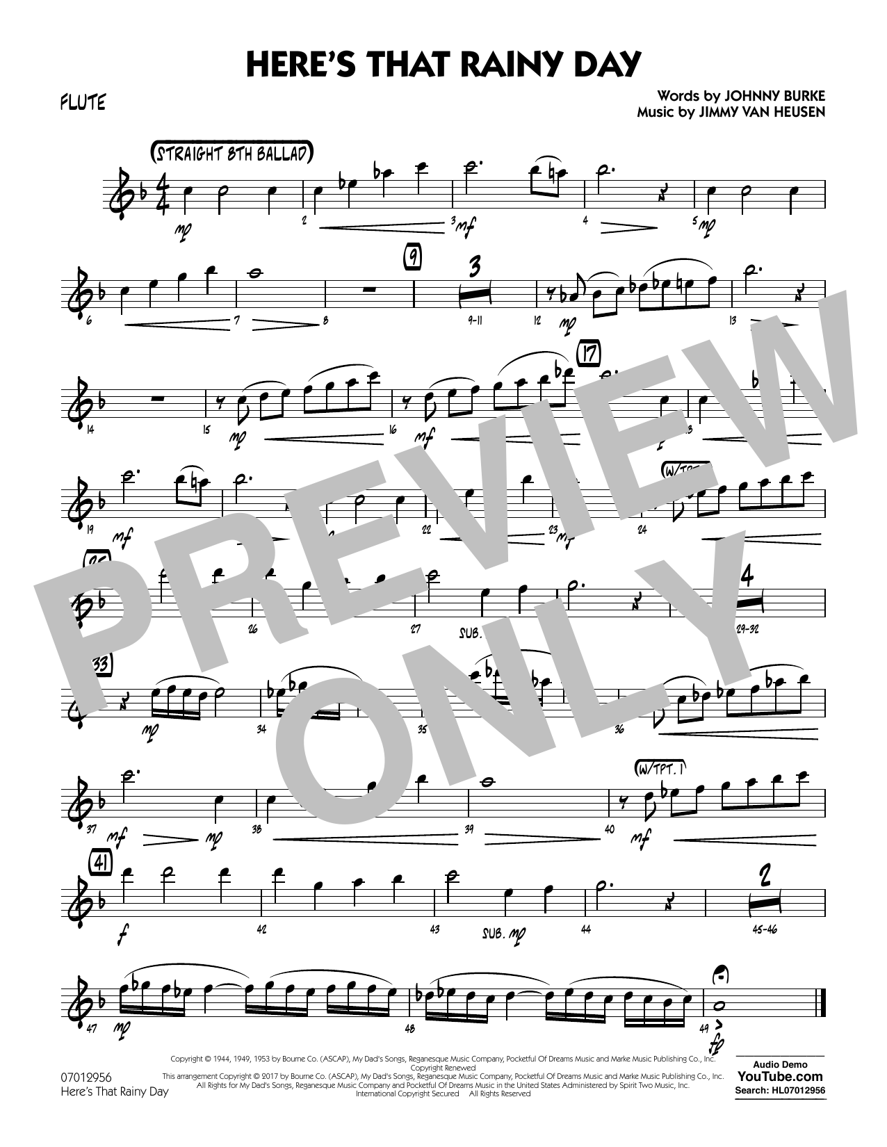 Here's That Rainy Day - Flute Sheet Music