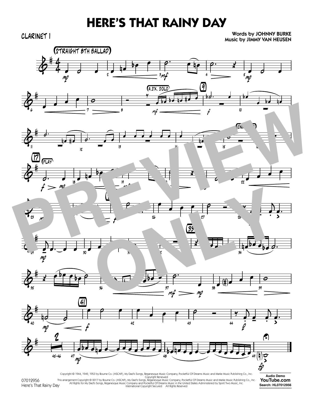 Here's That Rainy Day - Clarinet 1 Sheet Music