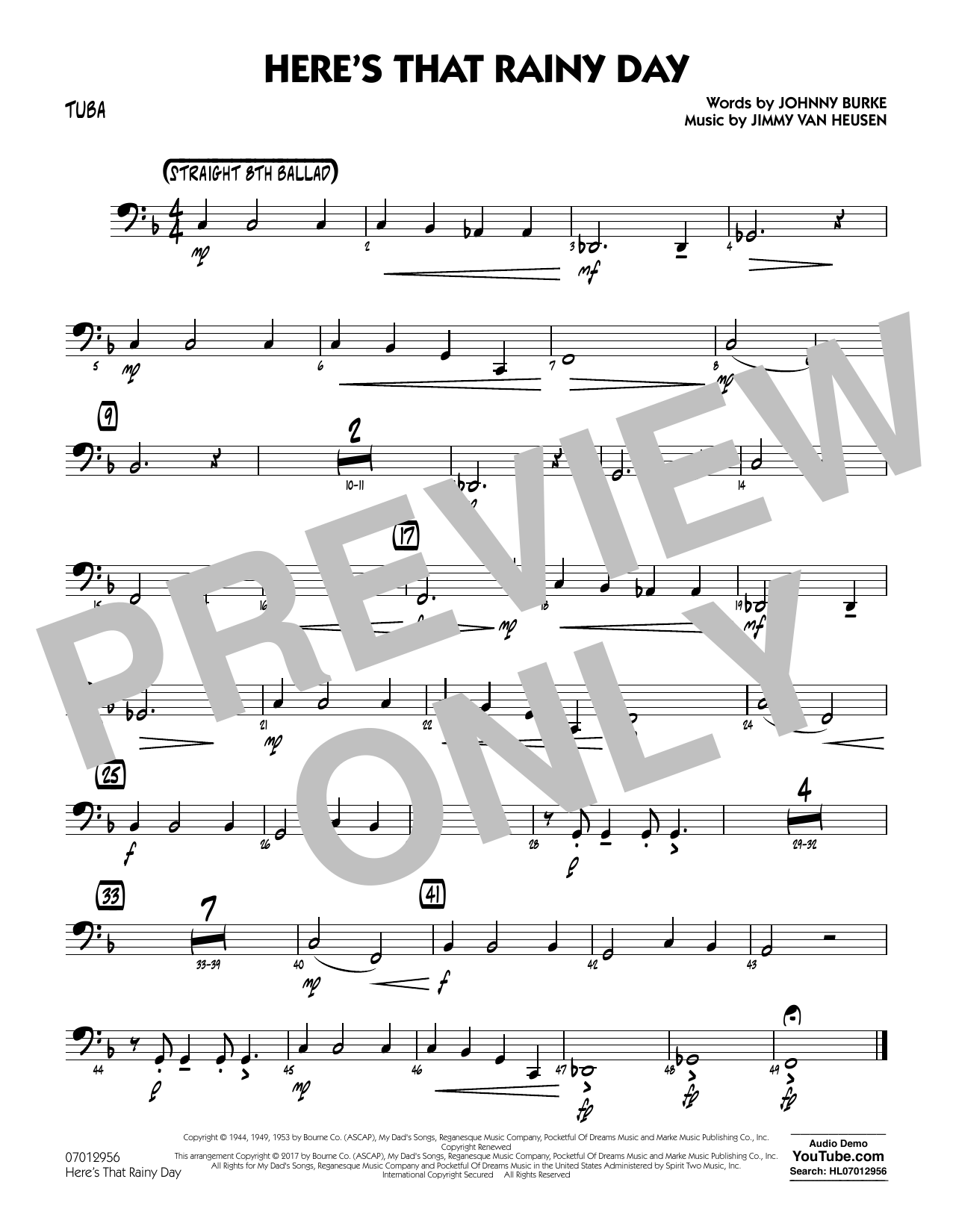 Here's That Rainy Day - Tuba Sheet Music