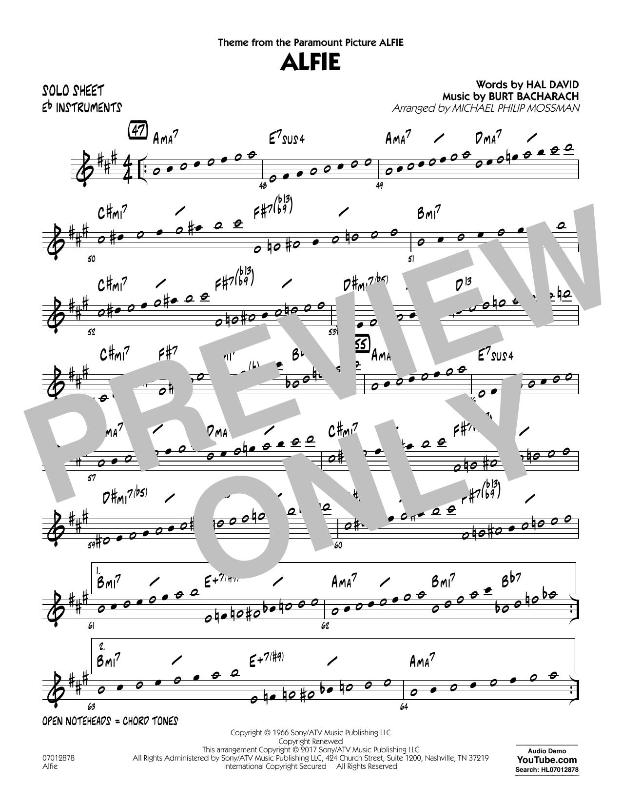 Alfie - Eb Solo Sheet Sheet Music