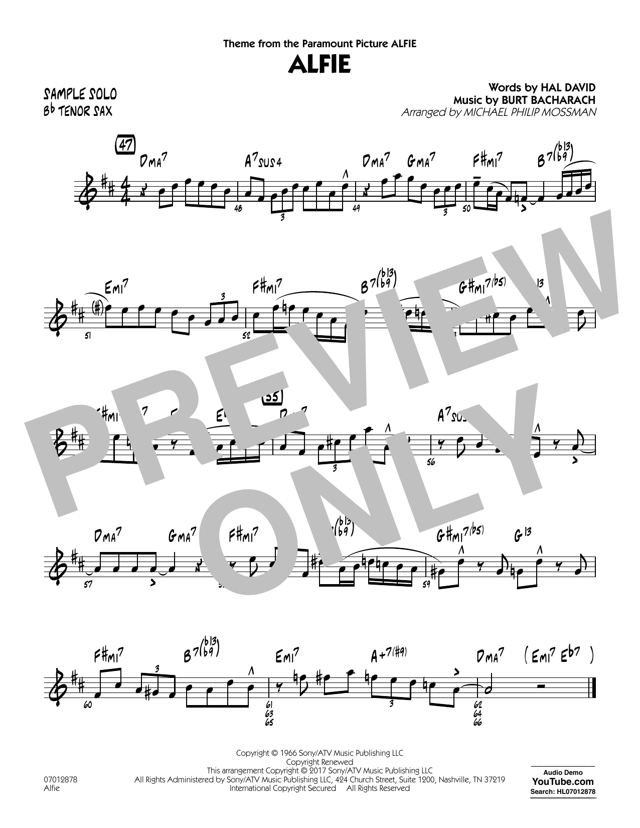 Alfie - Sample Solo - Tenor Sax Sheet Music