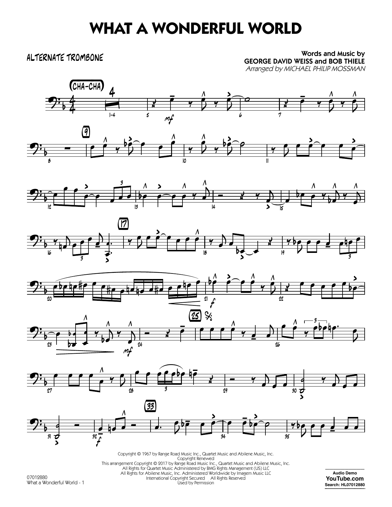 What A Wonderful World Dl - Alternate Trombone Sheet Music