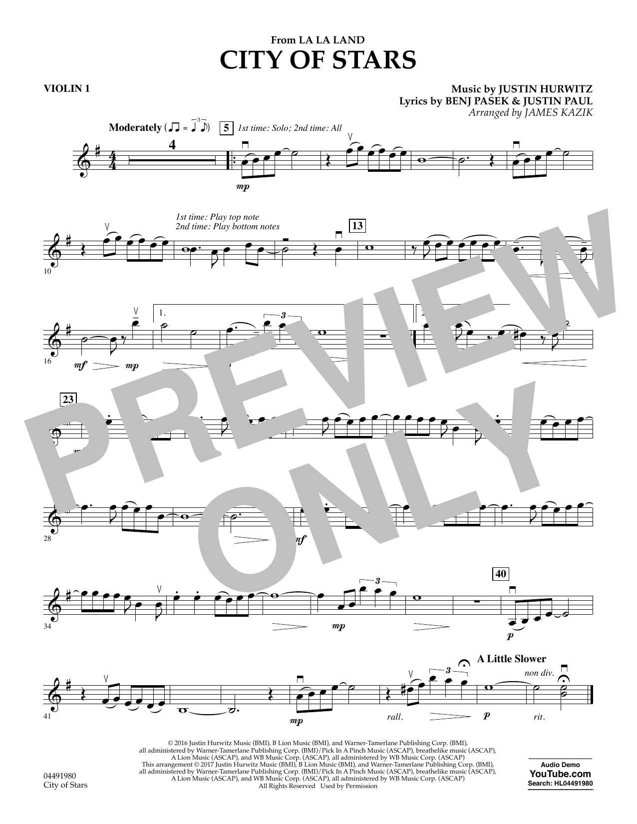 City of Stars (from La La Land) - Violin 1 Sheet Music