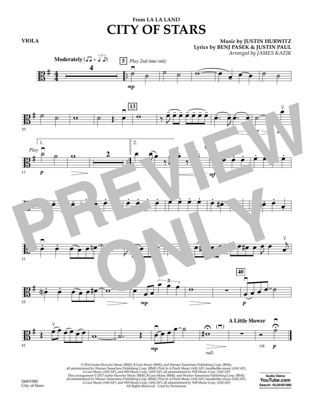 City of Stars (from La La Land) - Viola Sheet Music