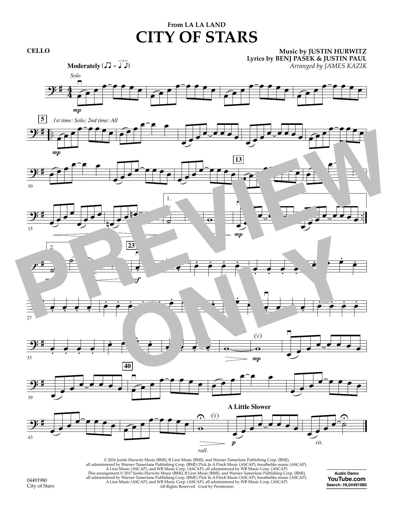 City of Stars (from La La Land) - Cello Sheet Music