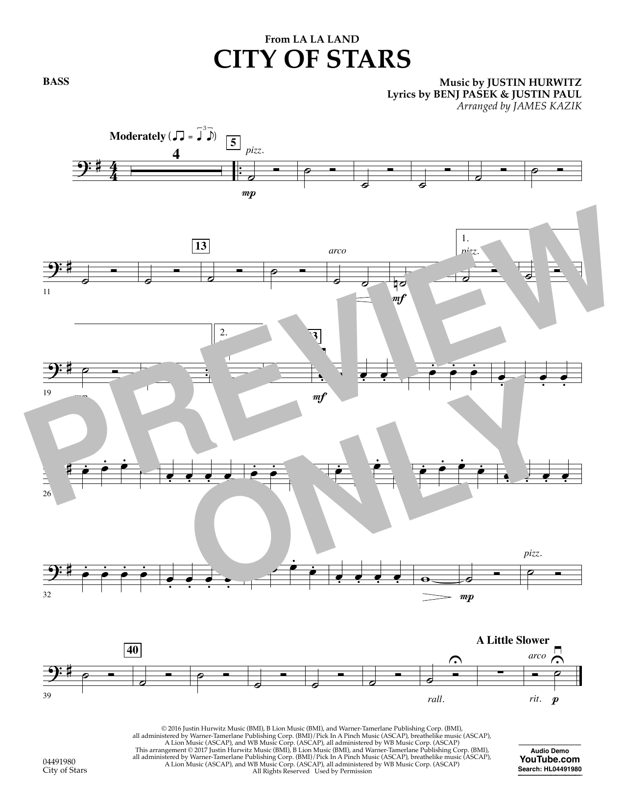 City of Stars (from La La Land) - Bass Sheet Music