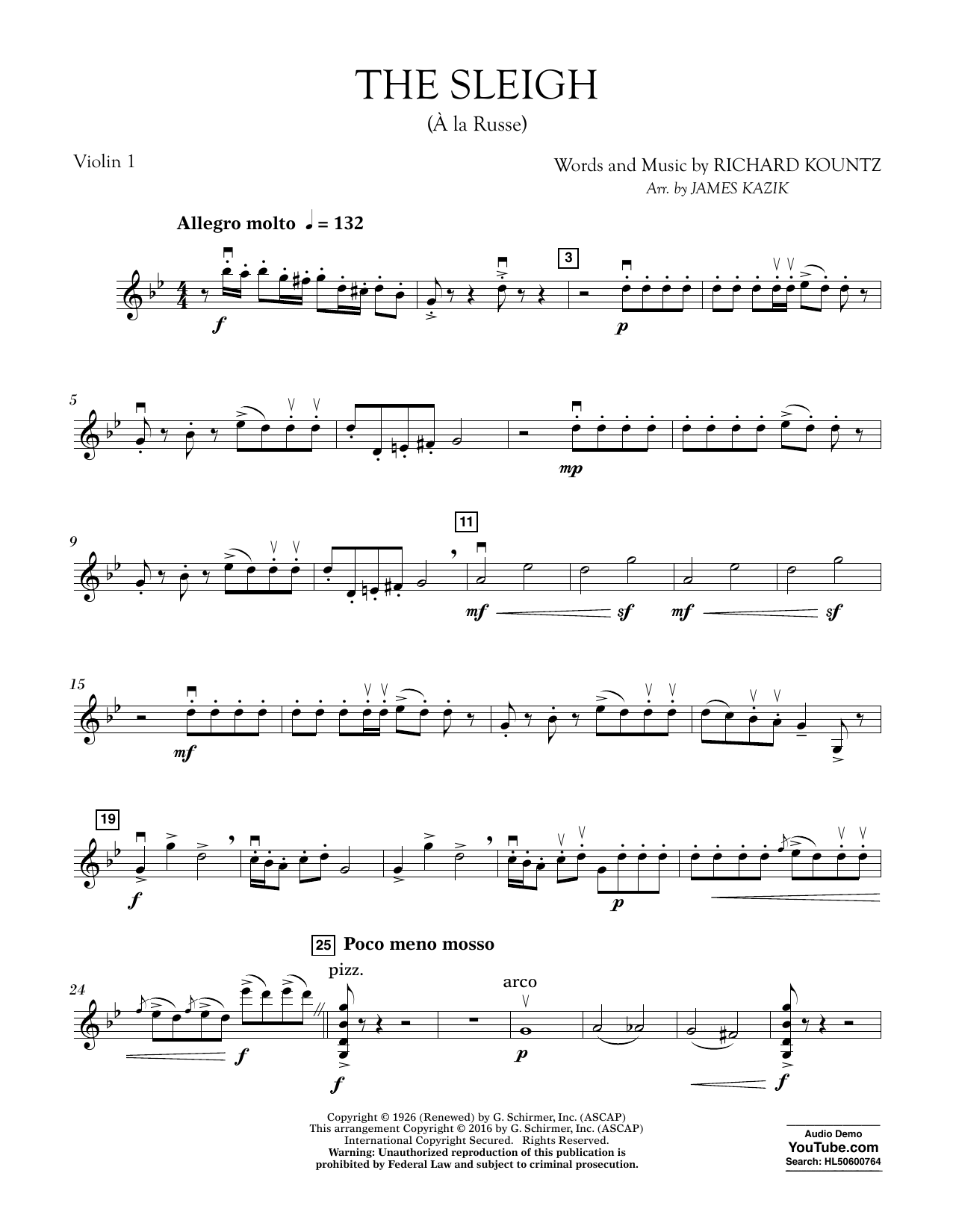 The Sleigh (?? La Russe) - Violin 1 Sheet Music