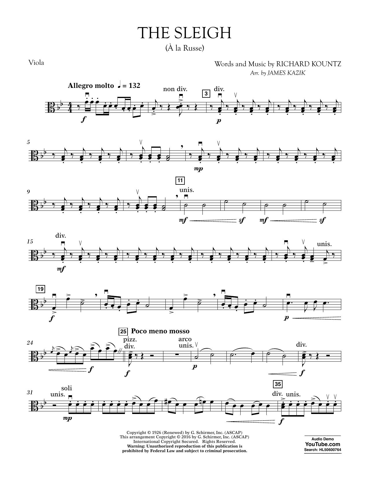 The Sleigh (?? La Russe) - Viola Sheet Music