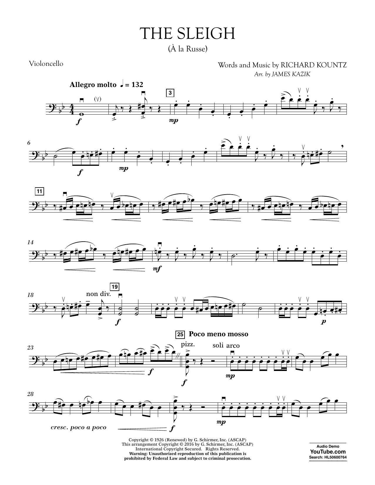 The Sleigh (?? La Russe) - Cello Sheet Music