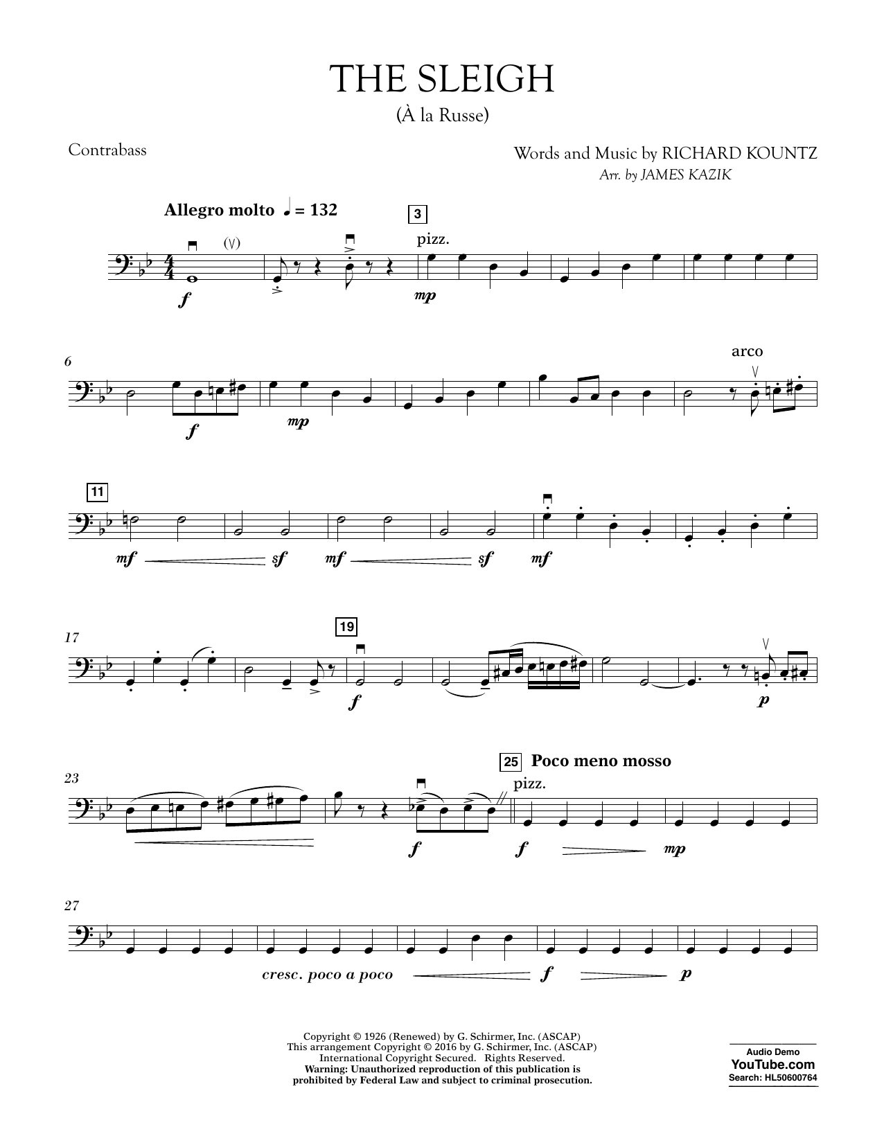 The Sleigh (À La Russe) - Bass Sheet Music