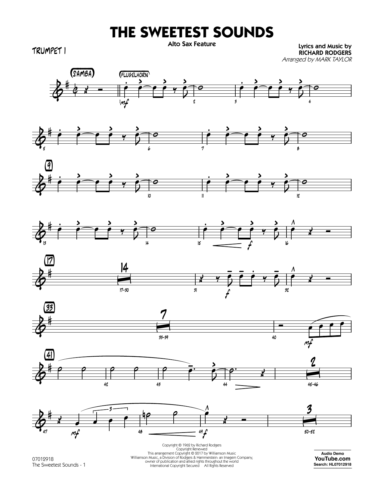 The Sweetest Sounds (Alto Sax Feature) - Trumpet 1 Sheet Music