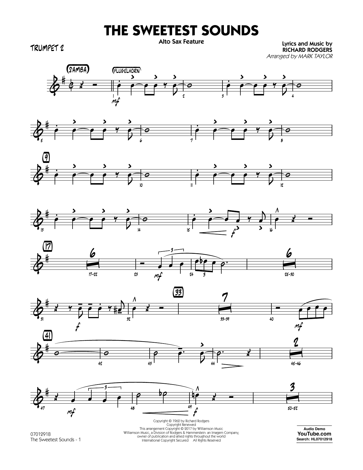 The Sweetest Sounds (Alto Sax Feature) - Trumpet 2 Sheet Music