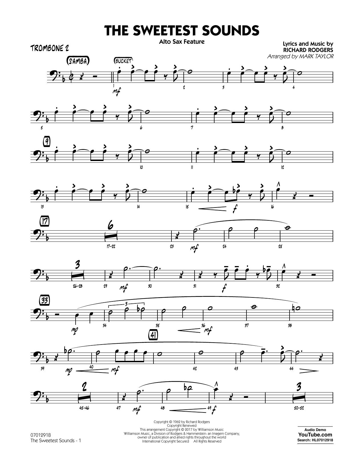 The Sweetest Sounds (Alto Sax Feature) - Trombone 2 Sheet Music
