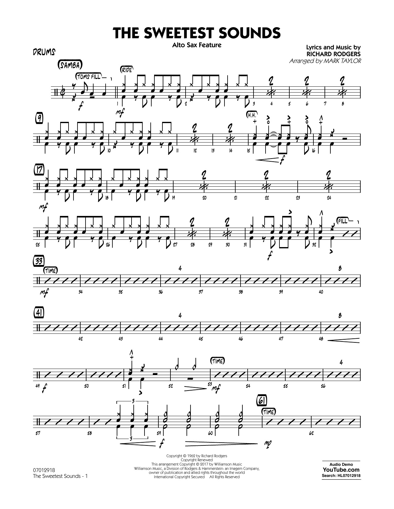 The Sweetest Sounds (Alto Sax Feature) - Drums Sheet Music