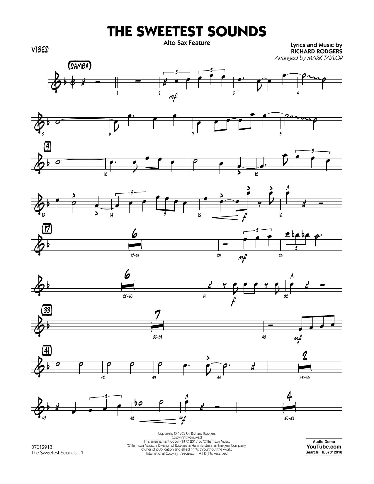 The Sweetest Sounds (Alto Sax Feature) - Vibes Sheet Music
